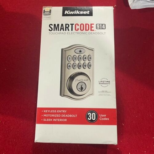 New - Open Box Kwikset 914 & Signature 99140-002 Satin Smartcode Deadbolt Kit