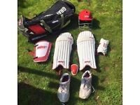 Cricket kit for Boys in a Gray Nicolls cricket bag
