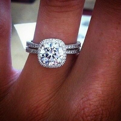 3.20 Ct. Round Cut Halo Pave Natural Diamond Wedding Set - GIA Certified