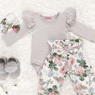 Neue Baby-mädchen-kleidung (3 stücke Baby Mädchen Strampler Top+Hosen Neugeborenen Kinder Baumwolle Kleidung)