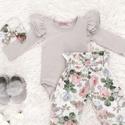 3 stücke Baby Mädchen Strampler Top+Hosen Neugeborenen Kinder Baumwolle Kleidung