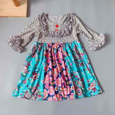 NEW Girls Boutique Long Sleeve Lace Top Multi Print Ruffle Dress 5-6 6-7 7-8 (Girls Boutique Dress)