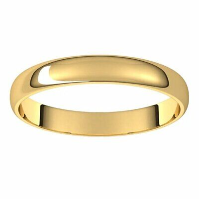 3mm wide 10kt Yellow Gold Half Round Ultra-Light Wedding Band Sz 4-12 Available  3mm Half Round Wedding Band