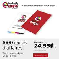 1000 cartes d'affaires R/V Vernis AQ 14 pts. 450-447-0578
