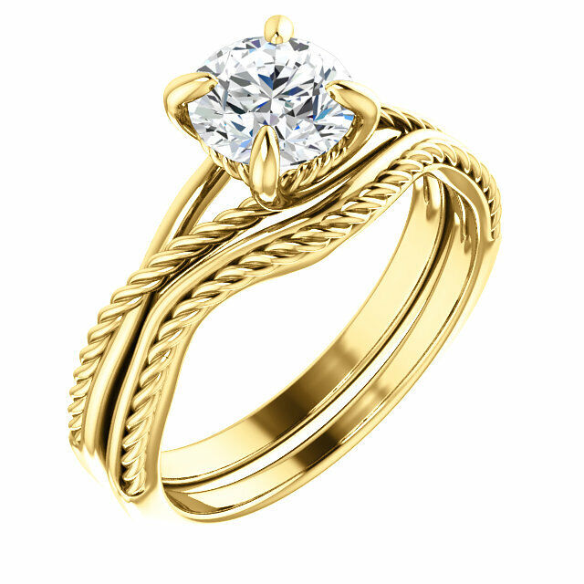 1.0 ct Round Diamond w/ GIA certificate F color SI2 clarity 14k yellow gold ring