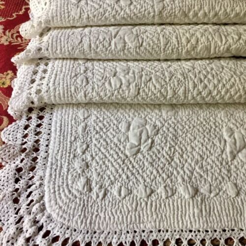 Antique FRENCH PROVENCAL Hd Made White QUILT BOUTIS Crocheted Lace WEDDING DOWRY