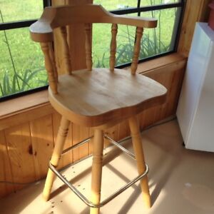 2 Wooden Swivel Bar Stools For Sale