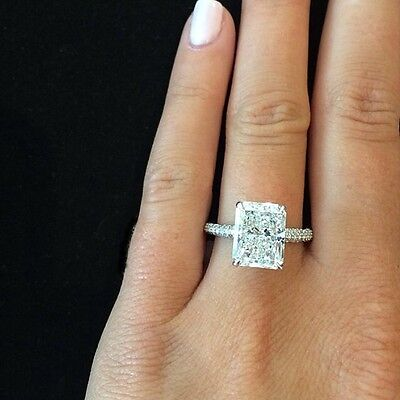 2.60 Ct Natural Radiant Cut Micro Pave Diamond Engagement Ring - GIA Certified