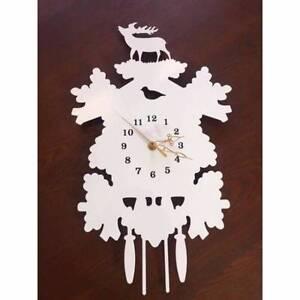 Wall Clock time piece white steel cut out art piece design Sans Souci Rockdale Area Preview