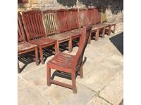 15x High quality solid wood garden chairs. £300 ONO Rock solid. Need some TLC