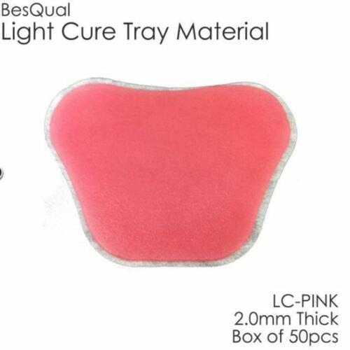 Light Cure Custom Tray Material - BQ Tray -  Pink - 50 Pcs/Box