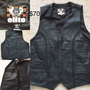 Leather Motorcycle Chaps and Vest - Mens XL