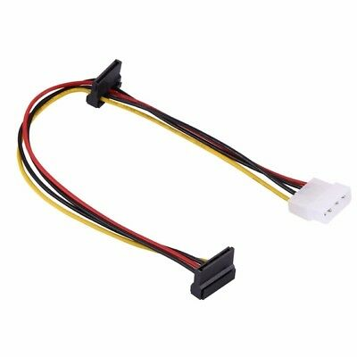 Dual 15 Pin Right Angled Female SATA 30cm Line to 4 PIN IDE MOLEX LP4 HDD Cable