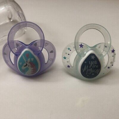 """Tommee Tippee Every Day Orthodontic Pacifiers """"Unicorn/You are Magical"""" 6-18 M"""