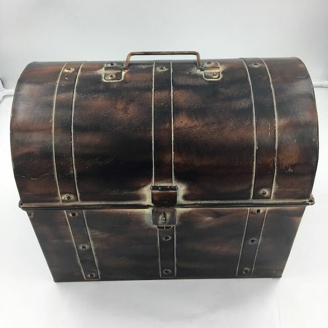 """Nautical Large Metal Pirate Treasure Chest, Hide Loot, Gold, or more... 12""""x8"""""""