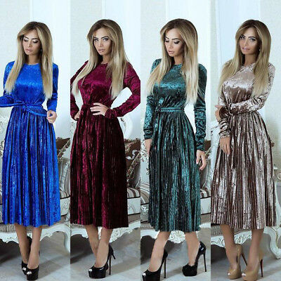 Flared Sleeve Velvet Dress (US Women Long Sleeve Velvet Pleated Dress Party Evening Crewneck Flared Dress DS )