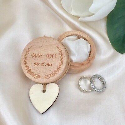 Wooden Wedding Ring Bearer Round Box Proposal Engagement Best Man