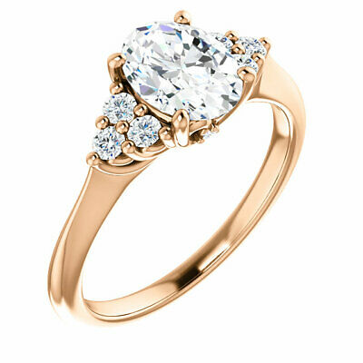 0.62 ct total GIA 0.45 carat D SI1 Oval Shape Diamond 14K Pink Gold Ring