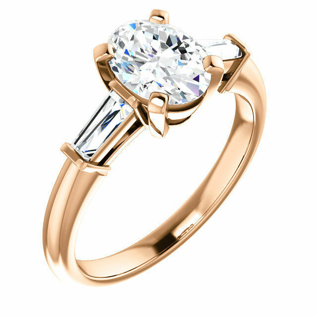 1.30 Ct Oval Brilliant Cut Diamond with Baguette Engagement Ring F,SI1 GIA 14K