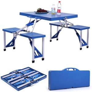 4 seat Outdoor Portable Plastic Folding Table for Picnics
