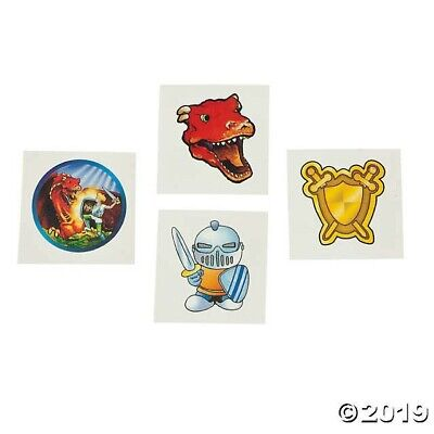 72 MYTHICAL CREATURES Knight Dragon Shield Tattoos BIRTHDAY PARTY FAVOR