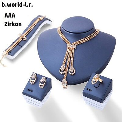 Schmuck Set Schmuckset  Collier Halskette Ohrringe Armband Ring Vergoldet 4 Tlg