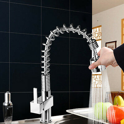 Modern Monobloc Kitchen Tap Swivel Pull Out Spray Mixer Chrome Brushed Faucet