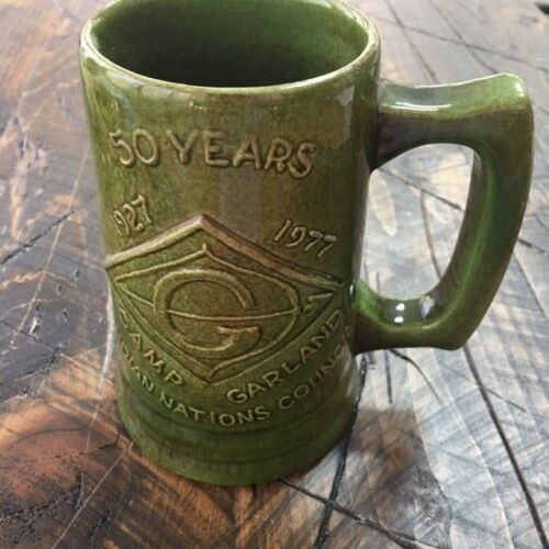BSA Boy Scouts Camp Garland Indian Nations Council 50 Year Pottery Mug Vintage