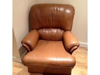 Brown Leather-look armchair- collect from SW19