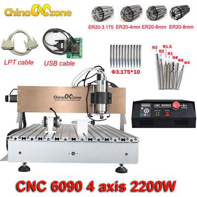 Cnc 6090 Router Milling Engraving Machine 4axis 2200w Diy Cnc Cutting Machine