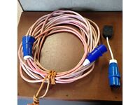 3-Core Mains Extension Cable with Waterproof Plugs Ideal for Camping/Caravan.