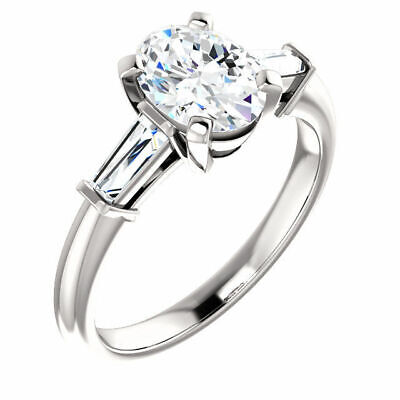 Lovely 1.40 Ct Oval Cut & Baguette 3 Stone Diamond Engagement Ring J VS2 GIA 14K