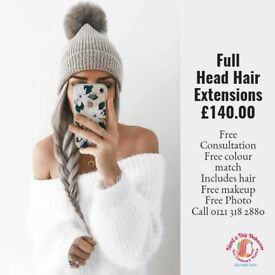 Get Full Head Hair Extensions at your Home for £140