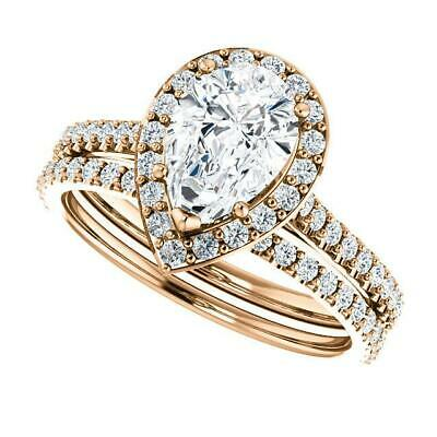 2.50 Ctw Halo Pear Cut U-Setting Pave Diamond Engagement Ring Set F,SI1 14K WG 9