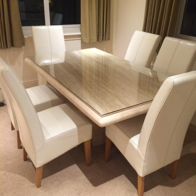39 actona 39 travertine dining table and 6 cream leather On dining tables for sale