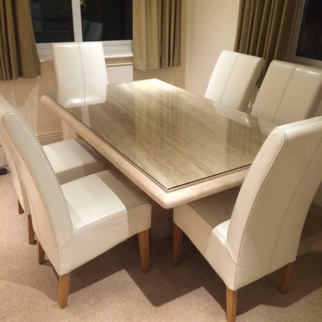 Bench Tables For Sale: 'Actona' Travertine Dining Table And 6 Cream Leather