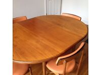 Round/extendable G-Plan wooden dining table + 4 chairs