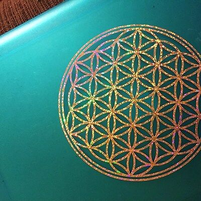 Flower of Life Sparkling Gold Sacred Geometry Sticker