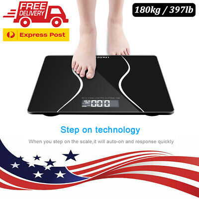 LCD Digital Electronic Personal Glass Bathroom Body Weight Weighing Scales 397LB