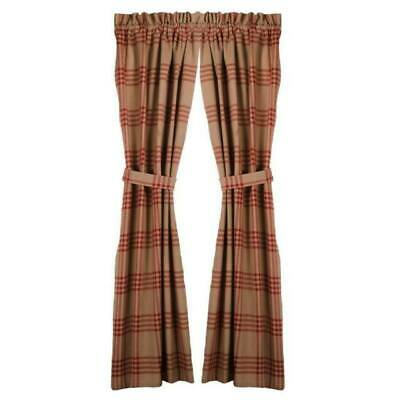 Chesterfield Check Barn Red Lined Curtain Panels 72WX63L Raghu Country Colonial