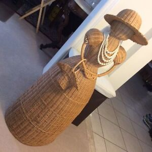 Woven Wicker Lady Figurine with Pearl necklace and Hat