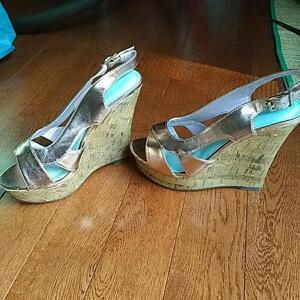 Rose Gold, Slingback, Peep Toe Wedges, Size 38-39 EU Kitchener / Waterloo Kitchener Area image 3