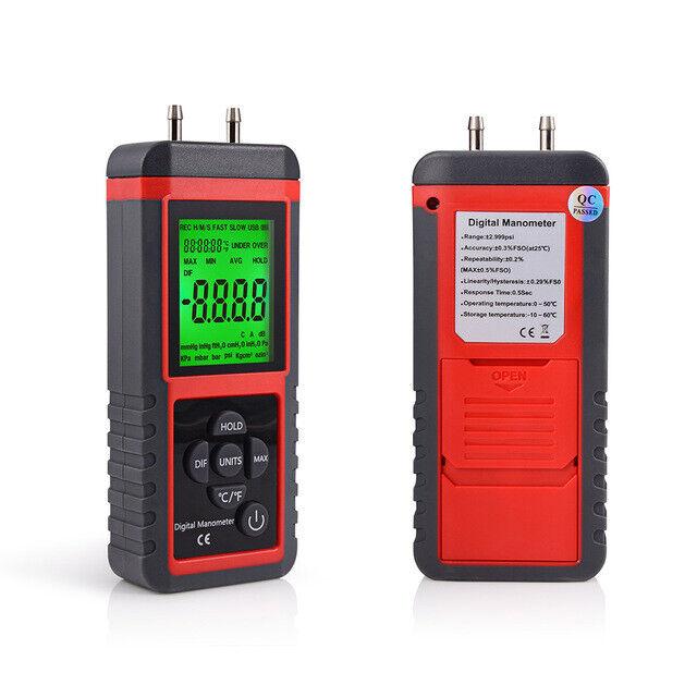 Digital Manometer w/ LCD Display Dual Port Air Pressure Meter Gauge Gas Tester