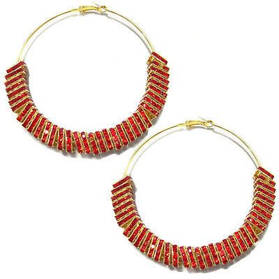 Square Beaded Hoops - Large Crystal Rondelle Hoop Earrings With Square Or Circle Beads