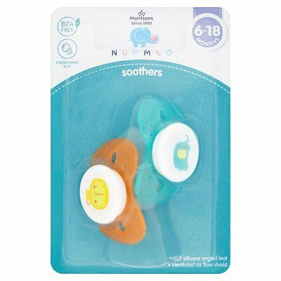 Nutmeg Soothers 6-18 months Lion and Elephant theme Dishwasher Safe, BPA Free,