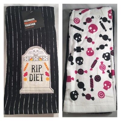 Halloween Dish Towels (2 Kitchen Hand Dish Towels, RIP Diet, Halloween Candy $13 Fall Funny Gift Home)