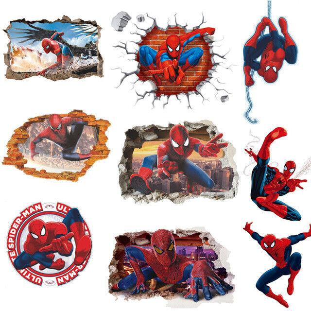 Spiderman Wall Stickers Cartoon Wallpaper 3D Decal Mural Art