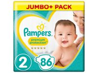 Pampers Size 2 Jumbo Pack 86 per pack *NEW*