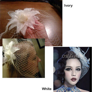 Lovely White, Off-White or Ivory Birdcage Fascinator Blusher New