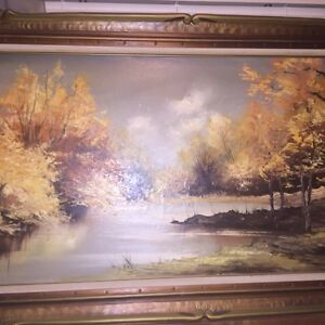 Beautiful Large Vintage Landscape Oil Painting